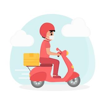 Концепция сервиса доставки парень на скутере