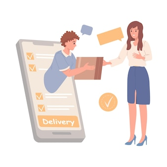 Delivery service concept. order food or goods online by smart phone. man gives box to customer. vector illustration