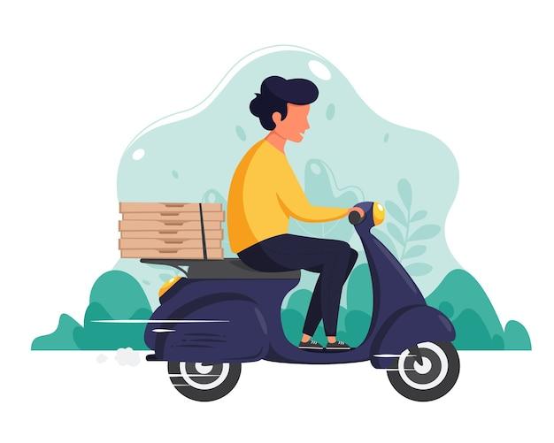 Концепция службы доставки. доставка пиццы. курьерский персонаж едет на скутере. в плоском стиле.