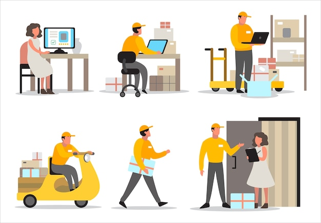 Delivery service concept. set of delivery man on his way to costumer. collection of courier in uniform holding box.