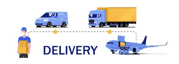 さまざまな車両、人、飛行機による配達サービスのコンセプト。ベクトルイラスト。