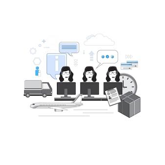 デリバリーサービスコンサルティンググループサポートチャットコミュニケーションソーシャルネットワークシンラインベクターイラスト