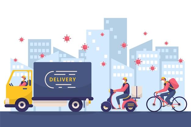 Delivery service coronavirus concept