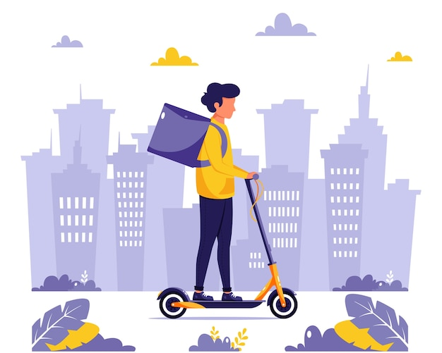 Delivery service. courier character riding by electrical scooter. eco transport concept.  in flat style.