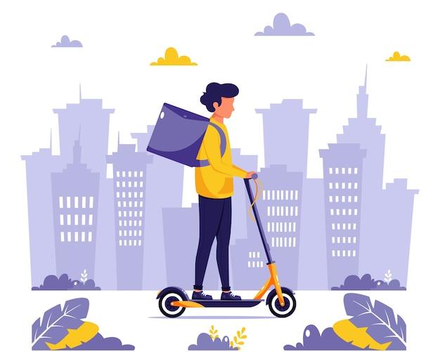 Служба доставки. курьерский персонаж едет на электросамокате. концепция экологического транспорта. в плоском стиле.