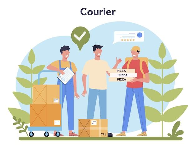 Служба доставки. курьер в погонах с ящиком от грузовика. доставка еды онлайн. заказ товаров в интернете. экспресс-концепция логистики.