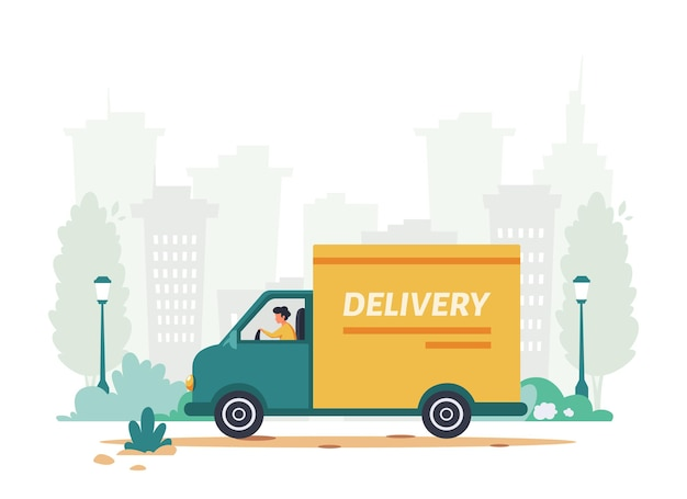 Delivery service courier riding by truck