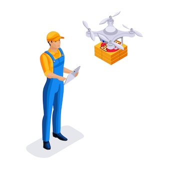Delivery service courier sends boxes on drone, fast delivery of orders, round-the-clock work, courier bears the parcel