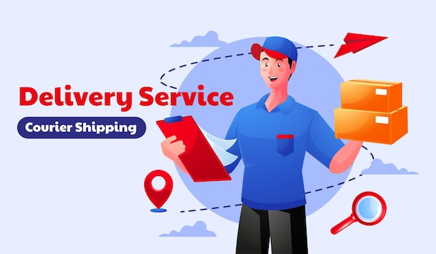 Delivery service courier shipping  with a mobile smartphone