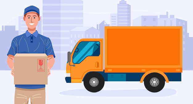 Delivery service. delivery man holding a parcel with his truck.
