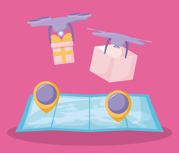 Delivery service drones with map guide