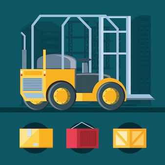 Delivery service forklift icon