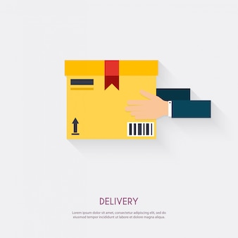 Delivery service. hand holding package. warehouse icons logistic blank and transportation, storage   illustration.