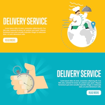 Delivery service horizontal banner template