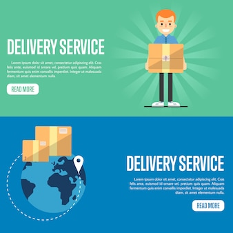 Delivery service horizontal website banner templates