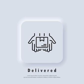 배달 서비스 아이콘입니다. 상자가 있는 빠른 배달 트럭 아이콘입니다. 익스프레스 배송 로고. 벡터. ui 아이콘입니다. 유통 서비스. neumorphic ui ux 흰색 사용자 인터페이스 웹 버튼입니다. 뉴모피즘