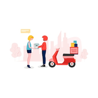 Delivery service illustration in flat style