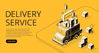 Delivery service illustration of loader truck with furniture for moving