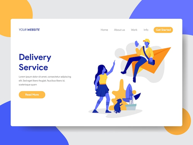 Delivery service illustration for web page
