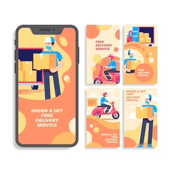 Delivery service instagram stories collection