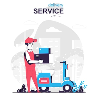 Delivery service isolated cartoon concept courier on moped delivering parcels fast shipping