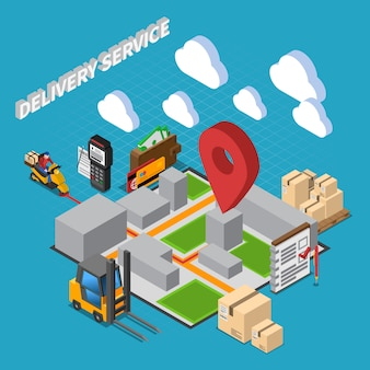 Delivery service isometric composition with elements of warehouse interior and logistic  icons