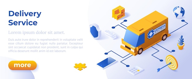 Delivery service - isometric design in trendy colors isometrical icons on blue background. banner layout template for website development