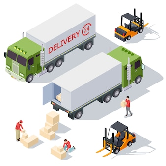 Delivery service isometric  elements collection with delivery truck, boxes and delivery men