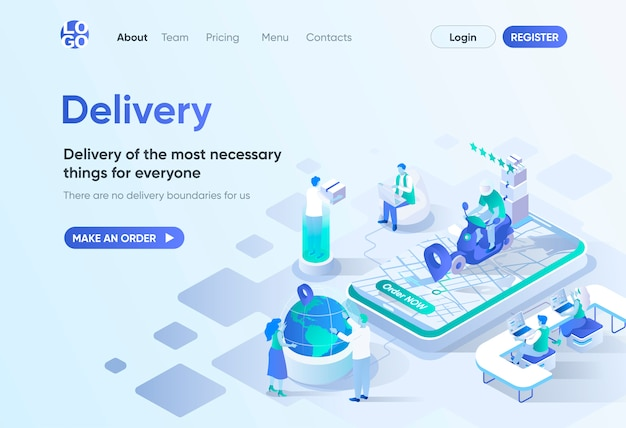 Delivery service isometric landing page. home delivery with courier, global shipping tracking, order now. express delivery template for cms and website builder. isometry scene with people characters.