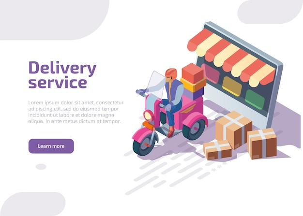 Delivery service isometric landing page.