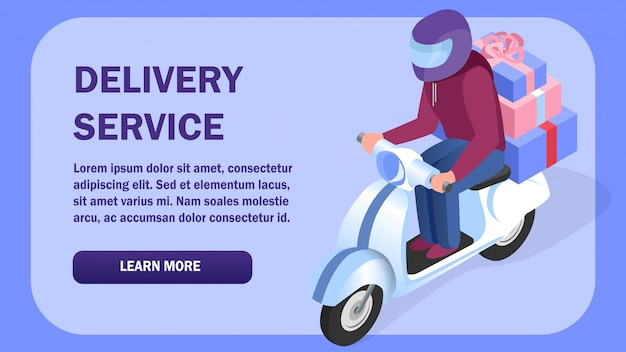 Delivery service isometric web banner template