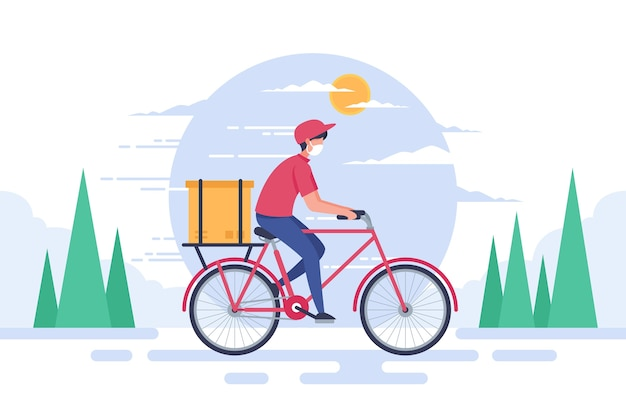 Delivery service man on bicycle