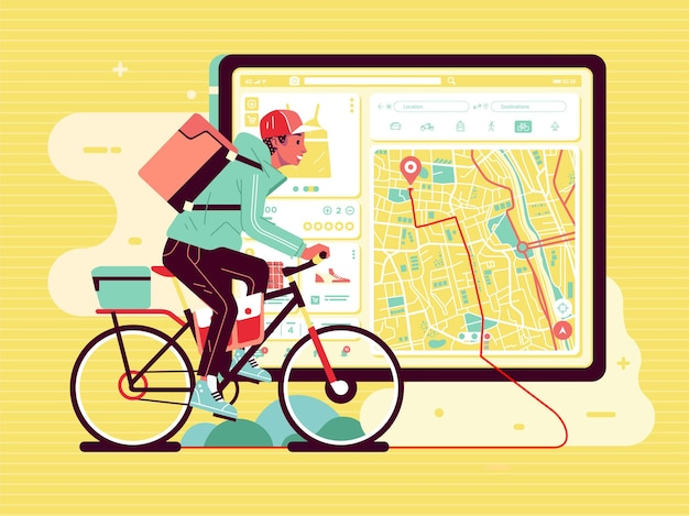 Delivery service man, deliver the package using bycicle, with map guide on the app