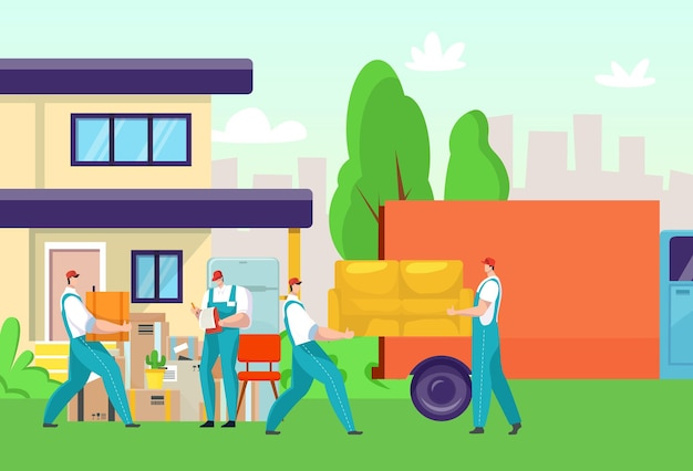 Delivery service, man worker people at cartoon box transportation, house furniture relocation