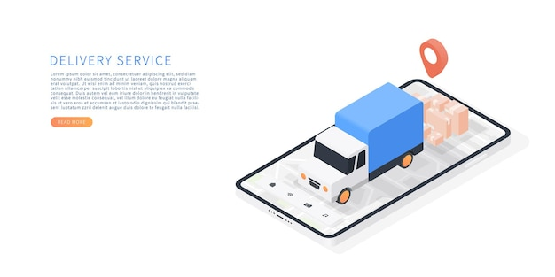 Delivery service on mobile application transportation delivery by truck vector isometric with smartphone truck map parcels map tracking vector illustration