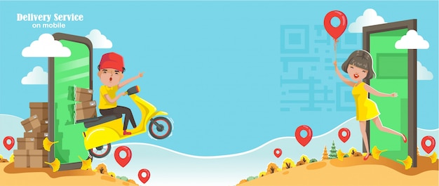 Delivery service on mobile phone concept. order and deliver products during the day. delivery man ride a motorcycle. women pinning orders online with the application at home