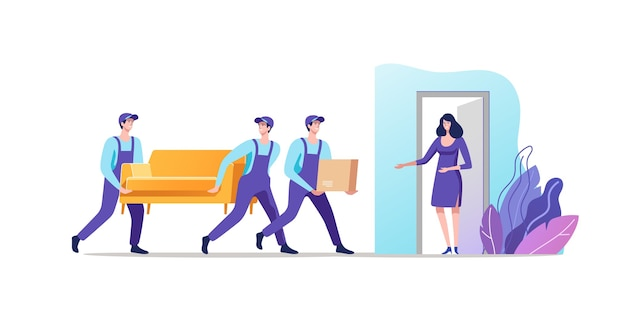 Delivery service and moving men in uniform carrying sofa and cardboard box vector illustration