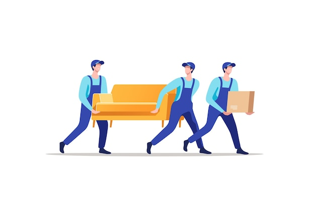 Delivery service and moving. men in uniform carrying sofa and cardboard box.