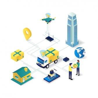 Delivery service network flat 3d isometric illustration