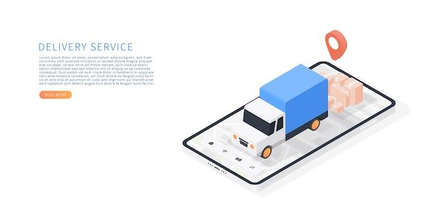 モバイルアプリケーションでの配達サービストラックによる輸送配達スマートフォンと等尺性のベクトルトラック地図小包地図追跡ベクトル図