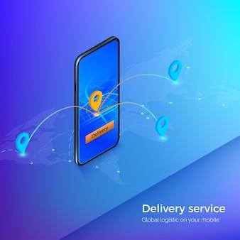配送サービスまたはモバイル配送アプリ。スマートフォンのナビゲーションとgps。ビジネスイラストロジスティックと配信。
