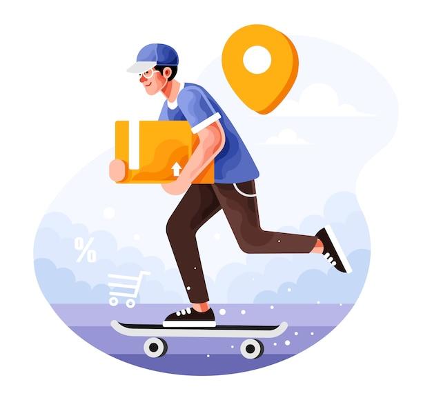 Служба доставки заказ со скейтбордом