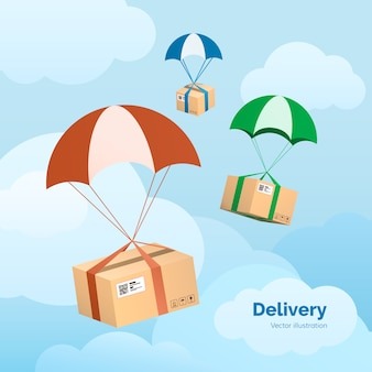 Delivery service. packages are flying on parachutes. parcels in the sky.