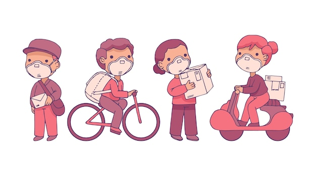 Delivery service people with masks
