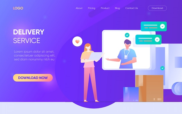 Delivery service person character landing page concept website vector design illustration