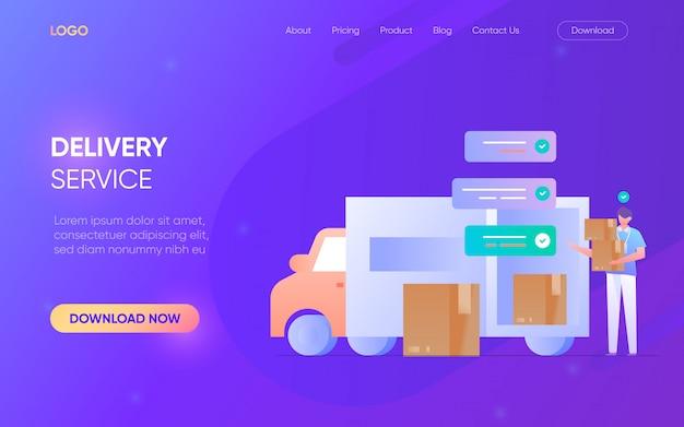 配送サービス担当者のキャラクターのランディングページコンセプトウェブサイト