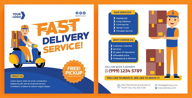 Delivery service promotion feed instagram in flat design style