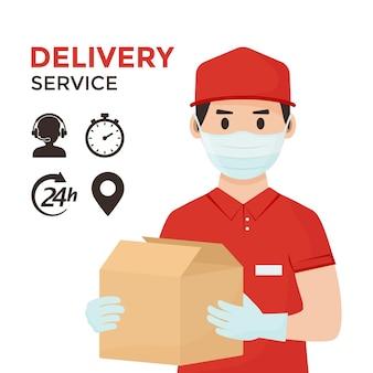 Служба доставки. безопасная доставка товаров. курьер в медицинских перчатках маски с коробками. иллюстрация