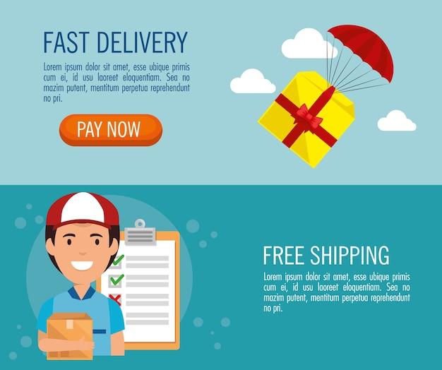 Delivery service set icons vector illustration design