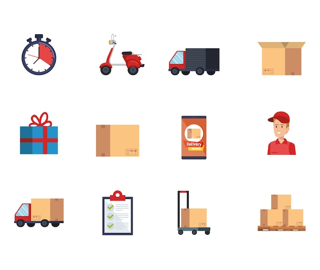 Delivery service set icons